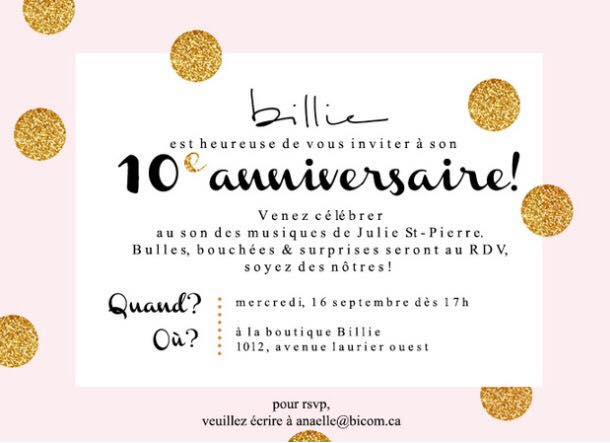 La Boutique Billie a 10 ans!